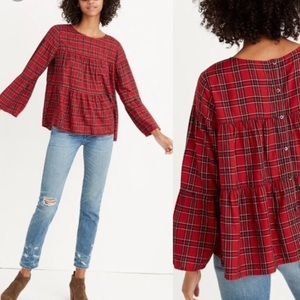 Madewell tiered plaid button back top size L red